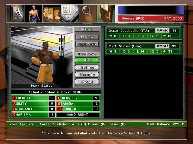 Spiel Universal Boxing Manager (Macintosh) 1
