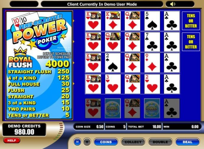 Spiel Tens or Better Power Poker 1