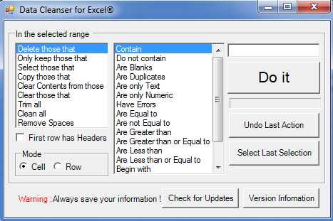 Programm Data Cleanser for Excel 1